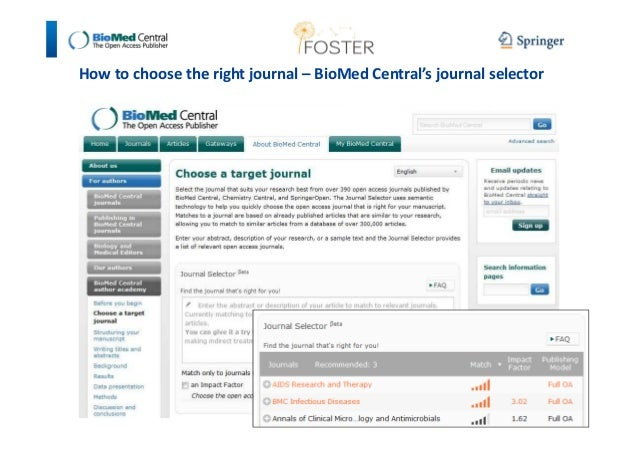 How to choose the right journal – BioMed Central's journal selector