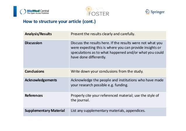How to structure your article (cont.)  Analysis/Results Present the results clearly and carefully.  Discussion Discuss the...