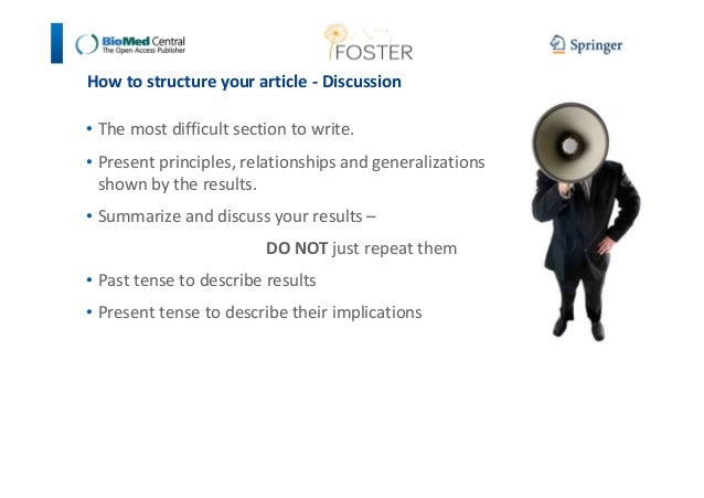 How to structure your article - Discussion  • The most difficult section to write.  • Present principles, relationships an...