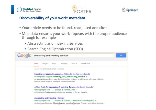 Discoverability of your work: metadata  • Your article needs to be found, read, used and cited!  • Metadata ensures your w...