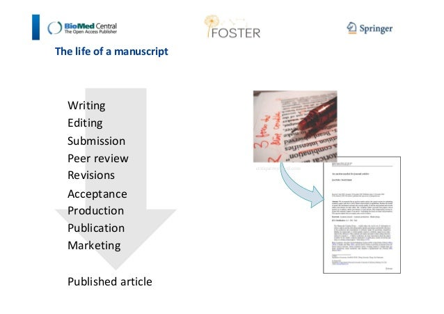 The life of a manuscript  Writing  Editing  Submission  Peer review  Revisions  Acceptance  Production  Publication  Marke...
