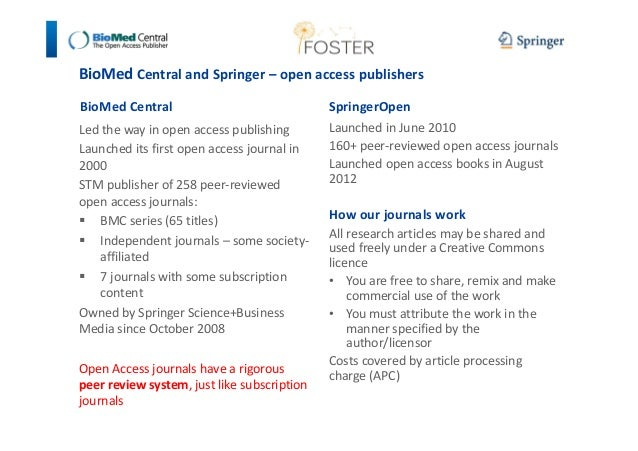 BioMed Central and Springer – open access publishers  BioMed Central  Led the way in open access publishing  Launched its ...