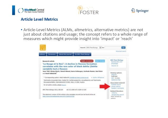 Article Level Metrics  • Article-Level Metrics (ALMs, altmetrics, alternative metrics) are not  just about citations and u...