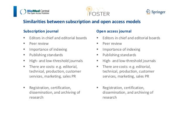 Similarities between subscription and open access models  Subscription journal   Editors in chief and editorial boards   P...