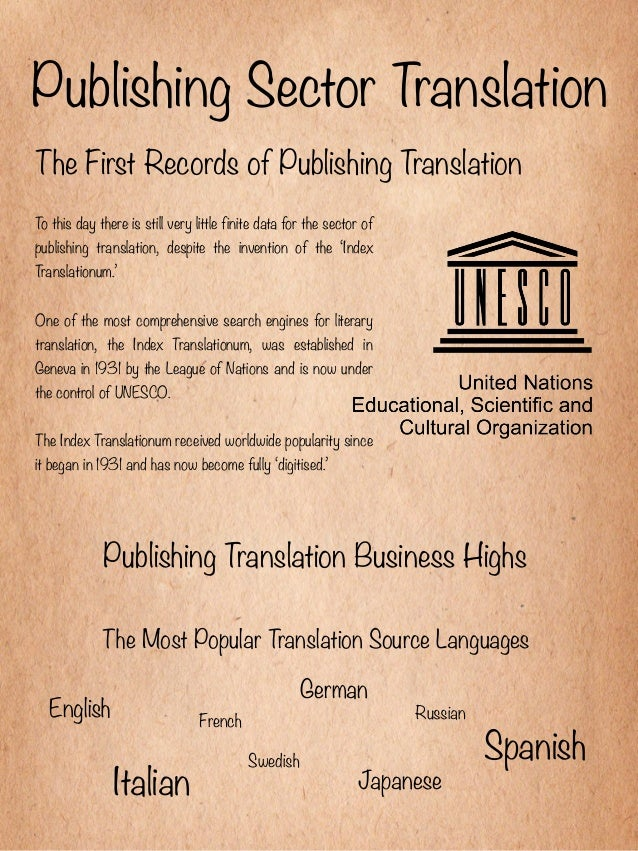 Publishing Sector TranslationThe First Records of Publishing TranslationTo this day there is still very little finite data...