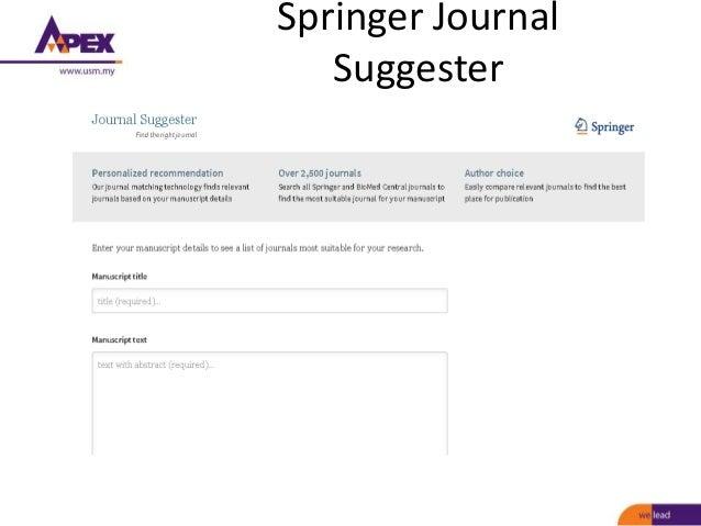 springer journal finder