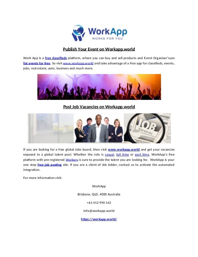 Publish your event on workapp