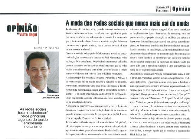 "iirtrfiiiiii  í  ""vista tlaiiui  Olivier P.  Soares  4/ t «sfmx  Director -gsral Oulcklnsolutionscom  ›  As redes sociais ..."