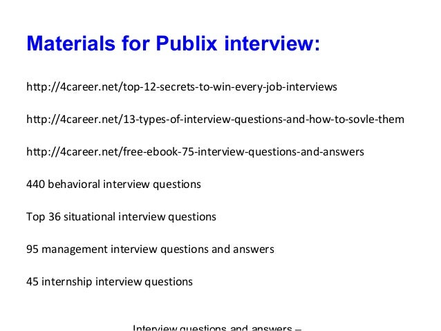 Publix interview questions and answers