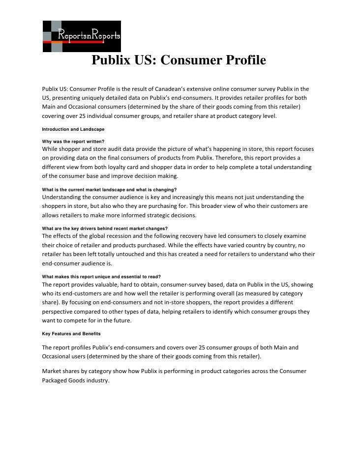 Publix US: Consumer ProfilePublix US: Consumer Profile is the result of Canadean's extensive online consumer survey Publix...