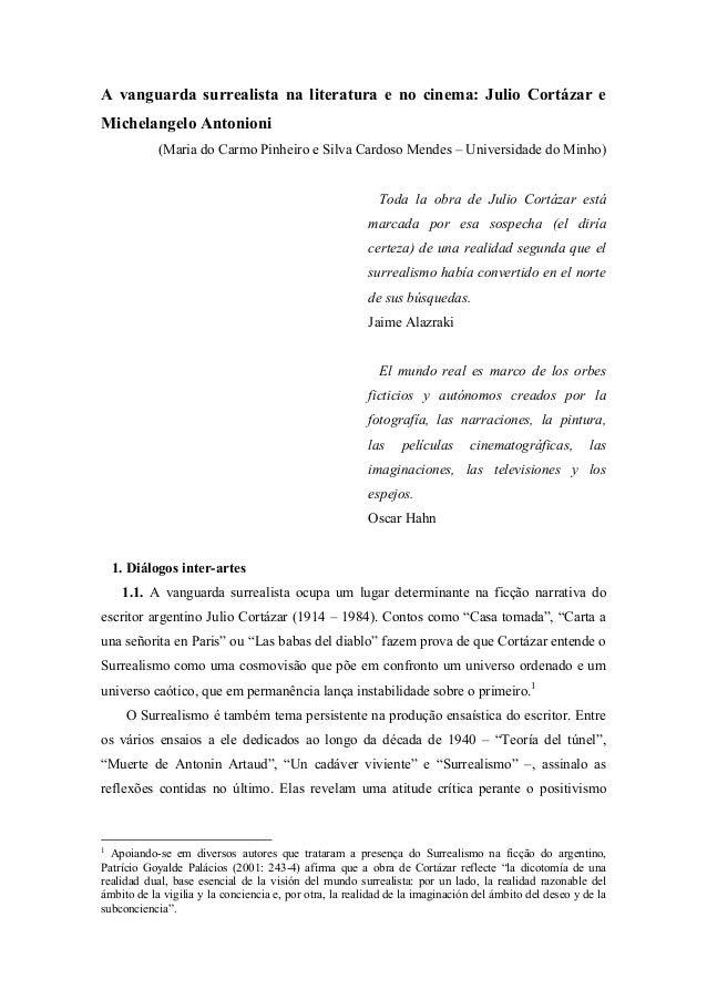 A vanguarda surrealista na literatura e no cinema: Julio Cortázar e Michelangelo Antonioni (Maria do Carmo Pinheiro e Silv...