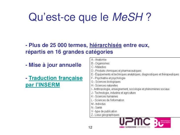 Qu'est-ce que le MeSH ?- Plus de 25 000 termes, hiérarchisés entre eux,répartis en 16 grandes catégories- Mise à jour annu...