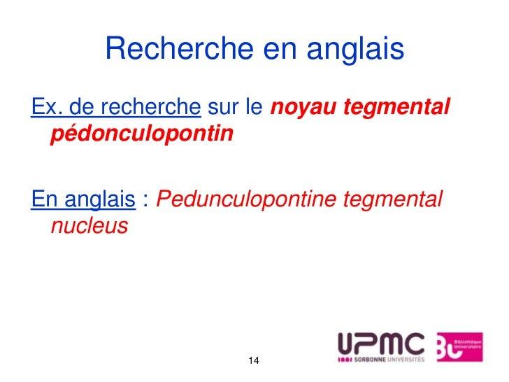 Recherche en anglaisEx. de recherche sur le noyau tegmental pédonculopontinEn anglais : Pedunculopontine tegmental nucleus...