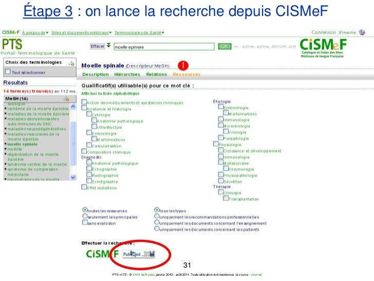 Étape 3 : on lance la recherche depuis CISMeF                       31