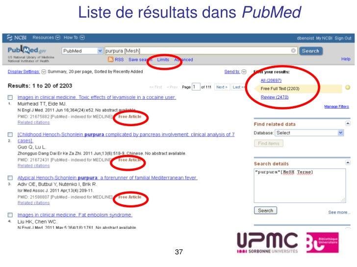 Liste de résultats dans PubMed             37