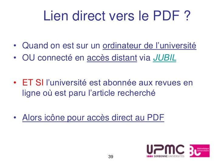 Lien direct vers le PDF ?• Quand on est sur un ordinateur de l'université• OU connecté en accès distant via JUBIL• ET SI l...