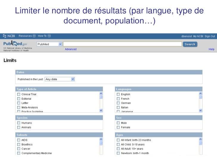 Limiter le nombre de résultats (par langue, type de             document, population…)                        44