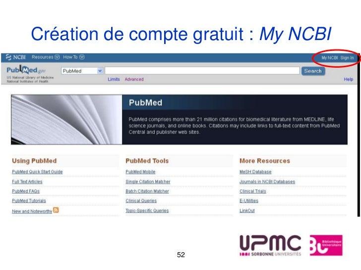 Création de compte gratuit : My NCBI                 52