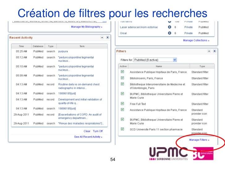 Création de filtres pour les recherches                   54