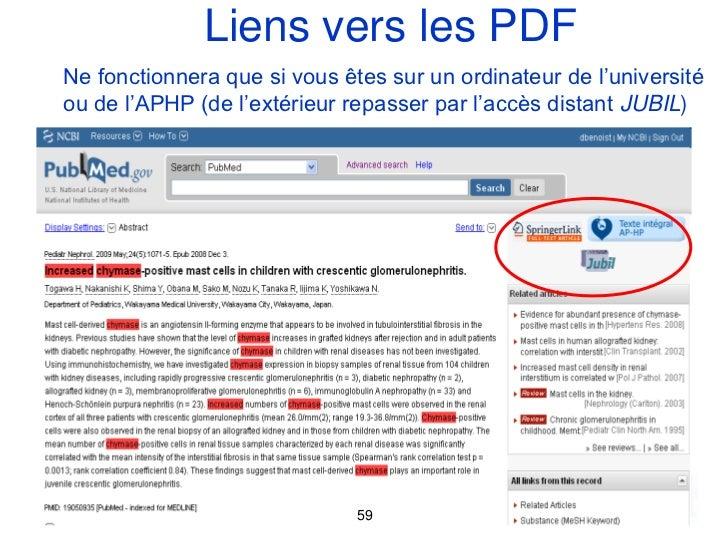 Liens vers les PDFNe fonctionnera que si vous êtes sur un ordinateur de l'universitéou de l'APHP (de l'extérieur repasser ...