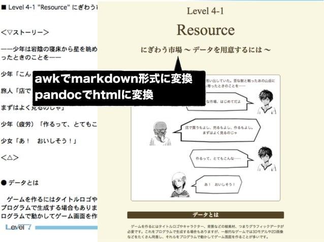 14 書くのに使ったツール awkでmarkdown形式に変換 pandocでhtmlに変換
