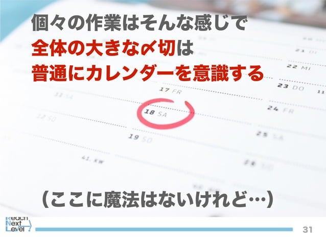 31 個々の作業はそんな感じで 全体の大きな〆切は 普通にカレンダーを意識する ! ! ! ! (ここに魔法はないけれど…)