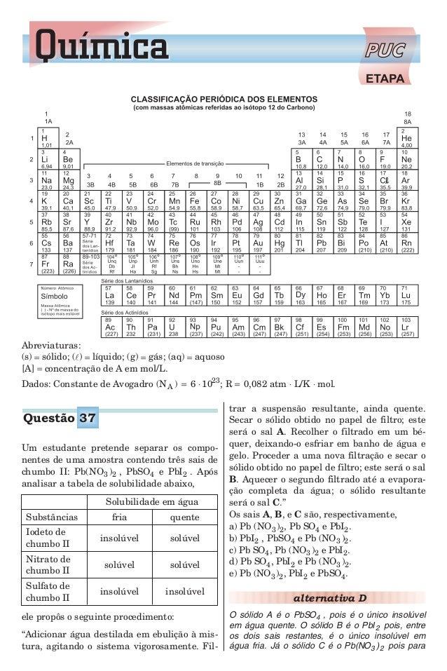 Um estudante pretende separar os compo- nentes de uma amostra contendo três sais de chumbo II: Pb(NO )3 2 , PbSO4 e PbI2 ....