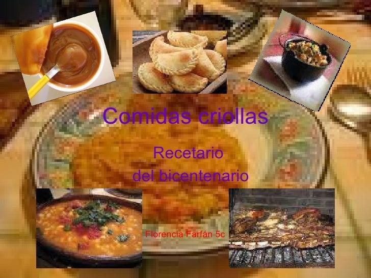Comidas criollas Recetario  del bicentenario Florencia Farfán 5c