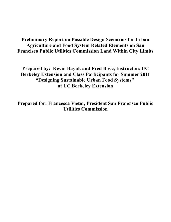 Preliminary Report on Possible Design Scenarios for Urban    Agriculture and Food System Related Elements on SanFrancisco ...