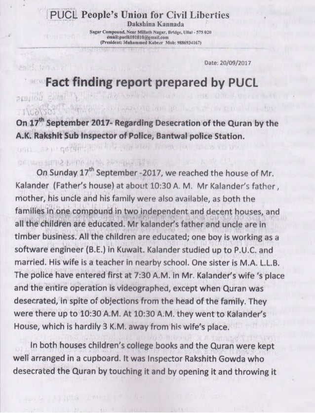 PUCL report on Bantwal ( 9 pages)