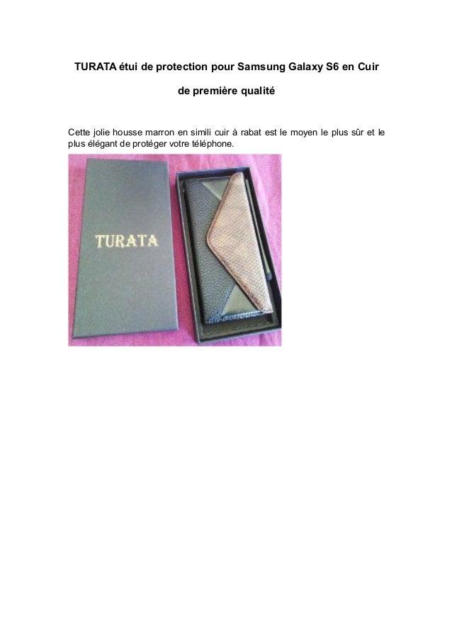 TURATA étui de protection pour Samsung Galaxy S6 en Cuir de première qualité Cette jolie housse marron en simili cuir à ra...