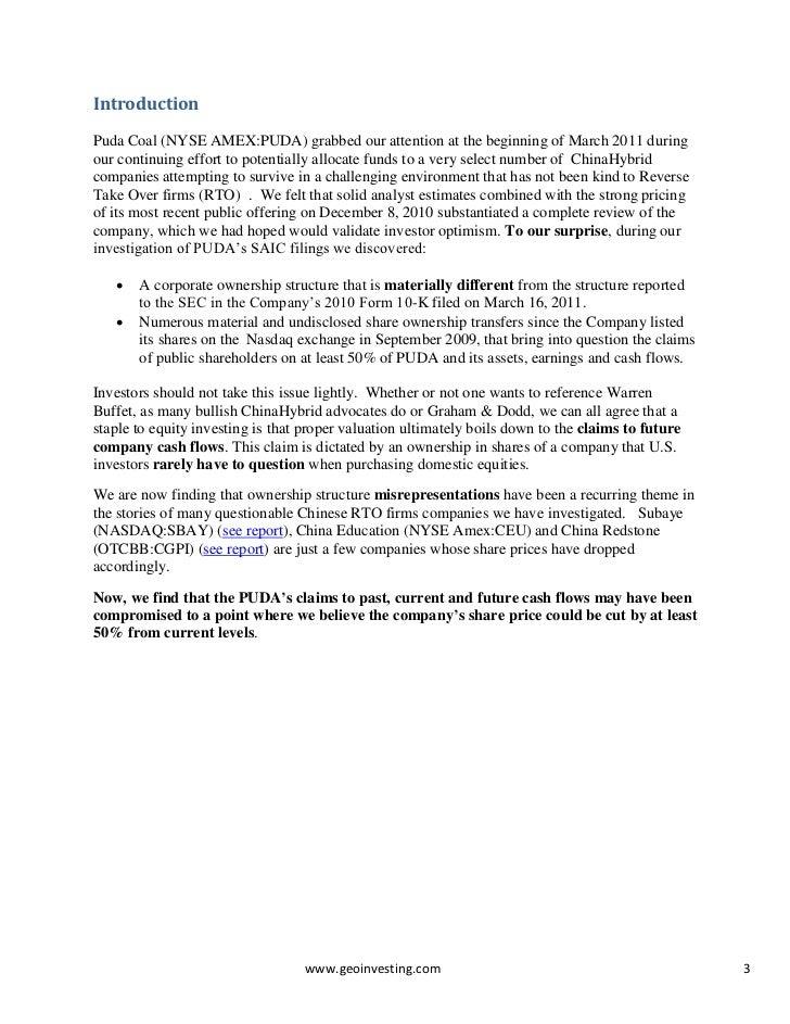 Puda Coal Investigatory Report - Probe into Corporate Structure and O…