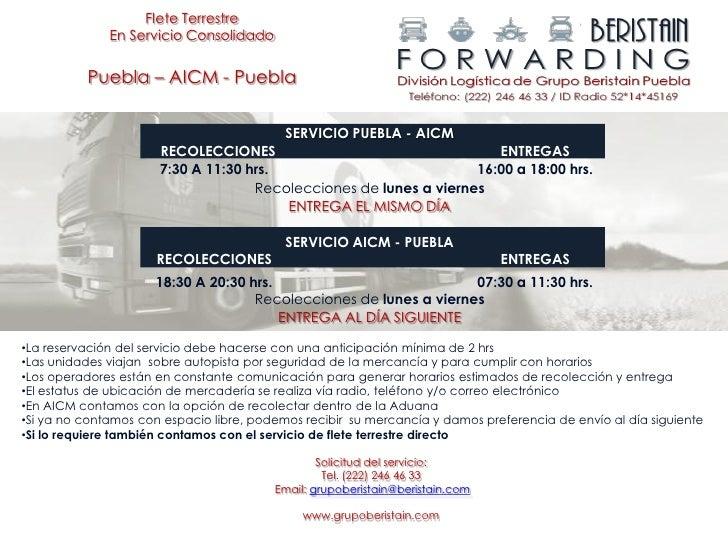 Flete Terrestre              En Servicio Consolidado          Puebla – AICM - Puebla                                      ...