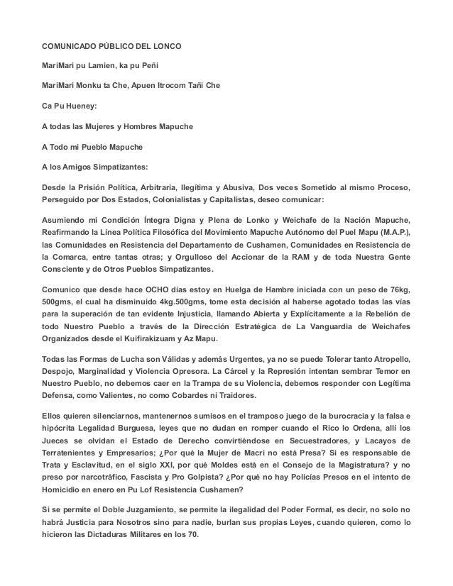 COMUNICADO PÚBLICO DEL LONCO MariMari pu Lamien, ka pu Peñi MariMari Monku ta Che, Apuen Itrocom Tañi Che Ca Pu Hueney: A ...