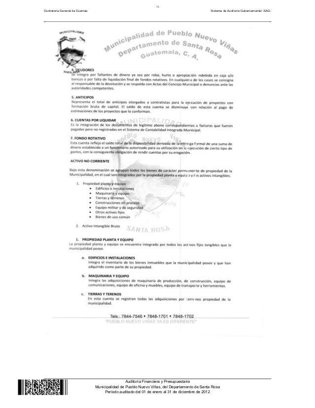 Informe de Auditoria Municipalidad de Pueblo Nuevo Viñas 2012