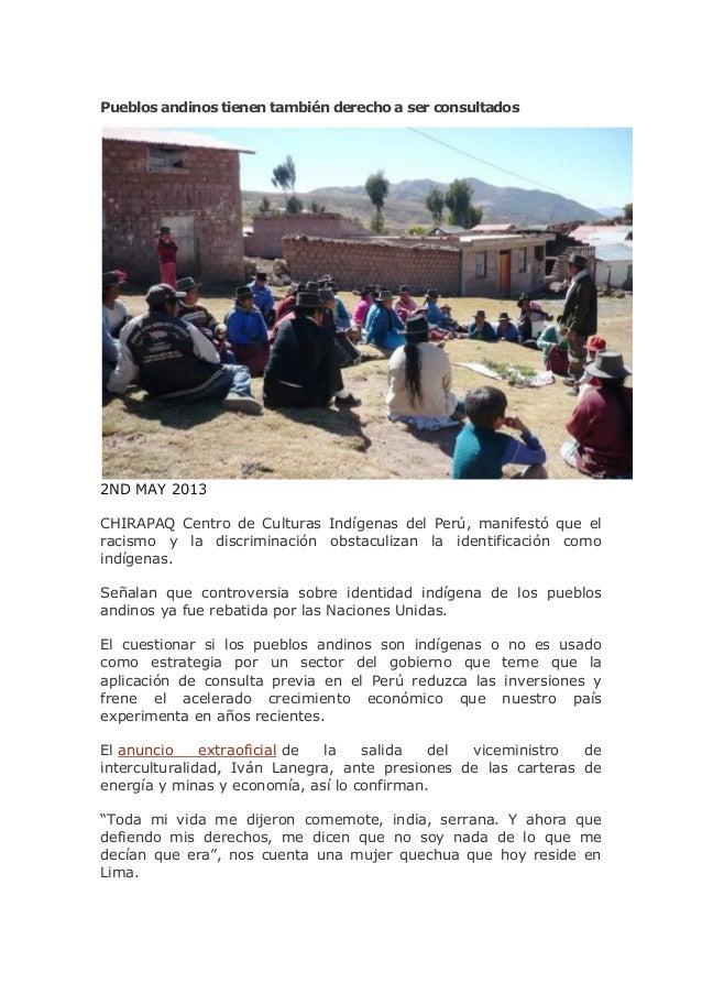 Pueblos andinos tienen también derecho a ser consultados2ND MAY 2013CHIRAPAQ Centro de Culturas Indígenas del Perú, manife...