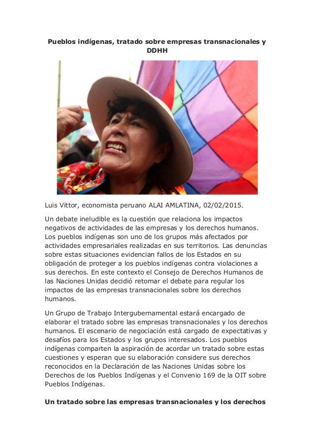 Pueblos indígenas, tratado sobre empresas transnacionales y DDHH Luis Vittor, economista peruano ALAI AMLATINA, 02/02/2015...