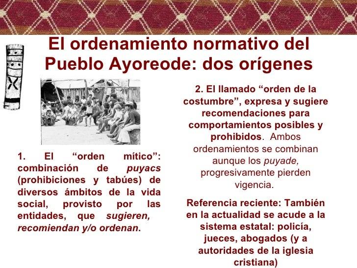 """El ordenamiento normativo del Pueblo Ayoreode: dos orígenes 1. El """"orden mítico"""": combinación de  puyacs  (prohibiciones y..."""