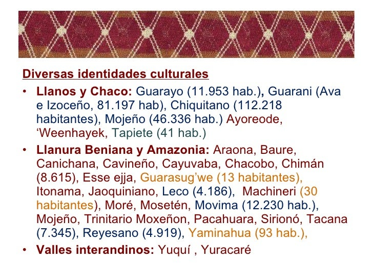 <ul><li>Diversas identidades culturales </li></ul><ul><li>Llanos y Chaco:  Guarayo (11.953 hab.) ,  Guarani (Ava e Izoceño...