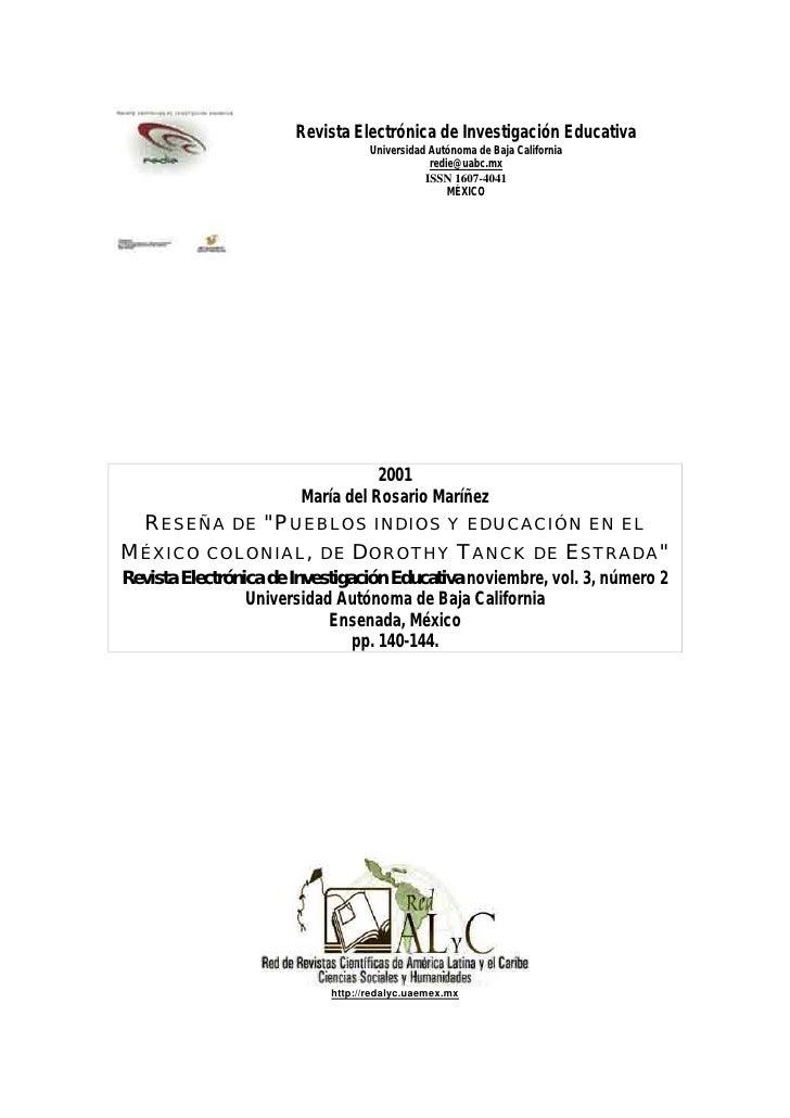 Revista Electrónica de Investigación Educativa                                   Universidad Autónoma de Baja California  ...