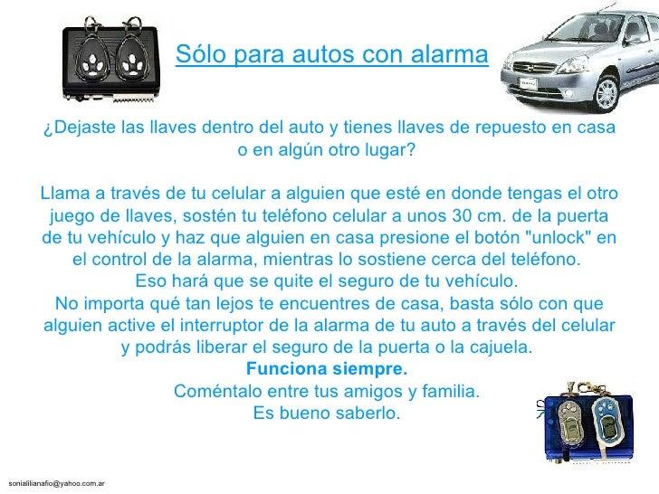 ¿Dejaste las llaves dentro del auto y tienes llaves de repuesto en casa o en algún otro lugar?  Llama a través de tu celul...
