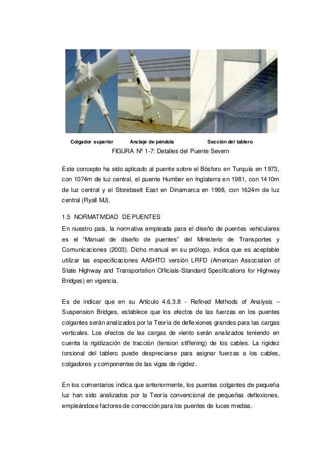 Colgador superior Anclaje de péndola Sección del tablero FIGURA Nº 1-7: Detalles del Puente Severn Este concepto ha sido a...