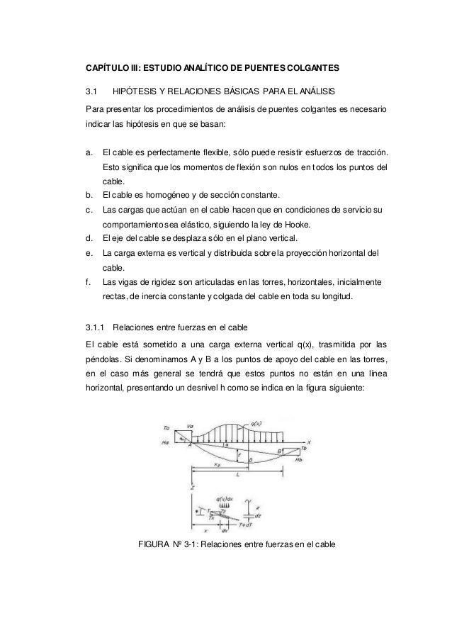 CAPÍTULO III: ESTUDIO ANALÍTICO DE PUENTES COLGANTES 3.1 HIPÓTESIS Y RELACIONES BÁSICAS PARA EL ANÁLISIS Para presentar lo...