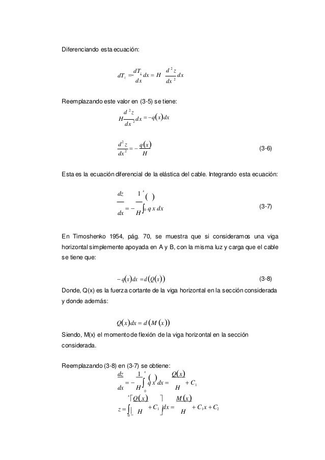 0 0  Diferenciando esta ecuación: dTz  dTz dx  H dx d 2 z dx dx 2 Reemplazando este valor en (3-5) se tiene: d 2 z H d...