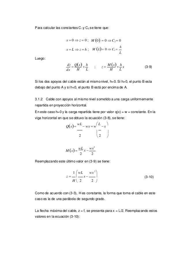 2 Para calcular las constantes C1 y C2 se tiene que: x  0  z  0 ; M 0  0  C2  0 Luego: x  L  z  h ; M L 0  ...