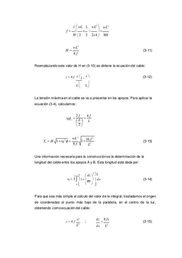 1tg2  L 2 1  wL L wL2  wL2 f   H  2 x    2 2x4  8H wL2 H  (3-11) 8 f Reemplazando este valor de H en (3-10...