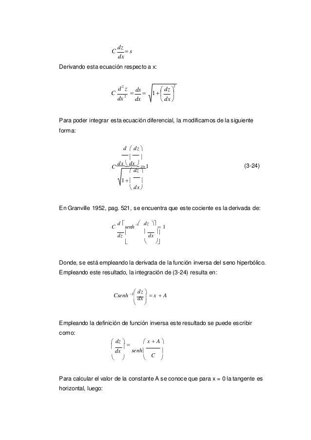   C dz  s dx Derivando esta ecuación respecto a x: d2 z C dx 2  ds   dx Para poder integrar esta ecuación diferenci...