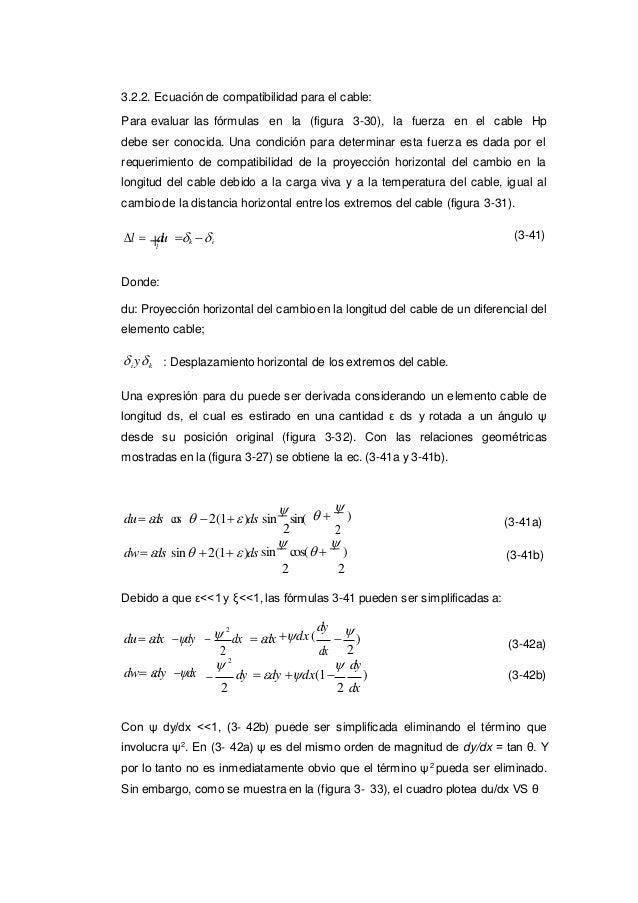 3.2.2. Ecuación de compatibilidad para el cable: Para evaluar las fórmulas en la (figura 3-30), la fuerza en el cable Hp d...