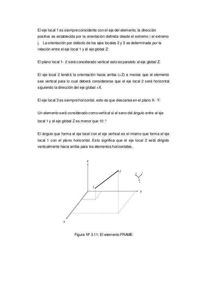 . El eje local 1 es siempre coincidente con el eje del elemento, la dirección positiva es establecida por la orientación d...
