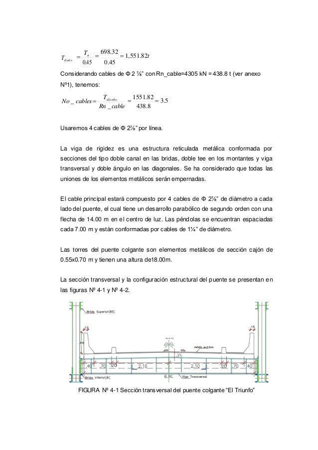 "Tdiseño  Ta 0.45  698.32  1,551.82t 0.45 Considerando cables de Φ 2 ⅞"" con Rn_cable=4305 kN = 438.8 t (ver anexo Nº1), ..."